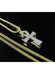 jewelry unlimited 10k yellow gold solid ankh cross real diamond pendant charm chain combo 0 50ct com