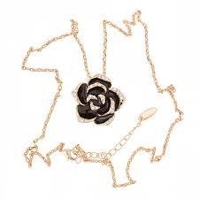 18k rose gold plated black enamel rose pendant necklace