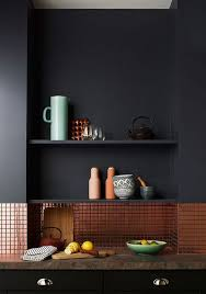 matte black kitchen with a tiny copper tile backsplash looks minimalist and very chic