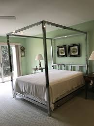 John Stuart - Milo Baughman Chrome Canopy Bed QUEEN bed for Sale in Boca Raton, FL - OfferUp