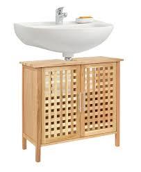 ts-ideen Waschbeckenunterschrank Walnuss Holz Badezimmer Schrank ...
