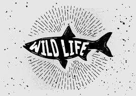 ヴィンテージ手描き魚シルエットベクター フリー素材無料ダウンロード