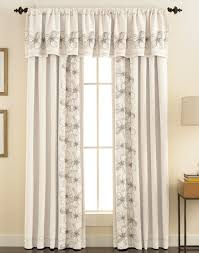 Window Valance Living Room Furniture Modern Home With Long White Floral Pattern Fabric