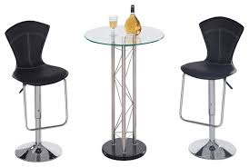 global furniture usa m208bt 3 piece round glass bar table set with round pub table