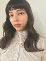 フェミニン ロング デジタルパーマ 前髪パッツンnanuk Shibuya 東峰 愛