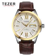 compare prices on real gold watches online shopping buy low price luxury brands mens watches online tezer quartz watch men real leather strap golden gold case men s
