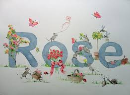 an original hand painted name painting for baby rose