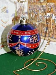 large vintage kugel style blue red mercury glass ornament gold glitter
