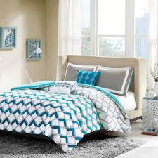 modern sporty blue teal aqua grey chevron stripe comforter set