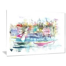 and abstract landscape metal wall art ship fishing boat