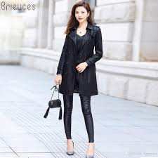 2019 whole brieuces women long leather jacket 2018 new las elegant washed pu coats trench female outerwear with belted plus size 3xl from brieuces