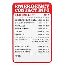 Emergency List Emergency Contact Information List Magnet