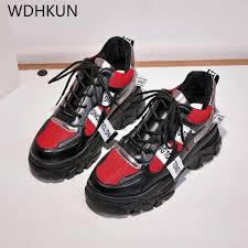 2019 Spring New Leather <b>Women's Platform Chunky Sneakers</b> ...