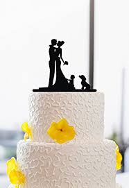Amazoncom Funny Wedding Cake Toppers Bride And Groom With Dog And
