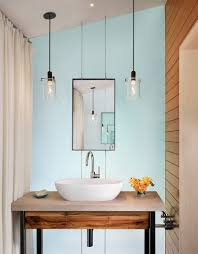 powder room bathroom lighting ideas. excellent rustic bathroom lighting ideas diy hanging lamps blue wall white sink and table faucet vase with flower soap curtain powder room