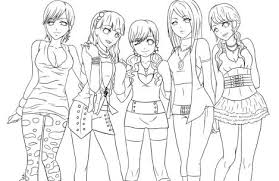 Fashionable Pretty Girls Coloring Pages Kindergarten Free Girl Of