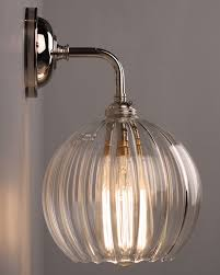 Charming Designer Lighting, CONTEMPORARY WALL LIGHT WITH RIBBED HEREFORD GLASS GLOBE  SHADE