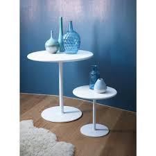 small circular high gloss white side table