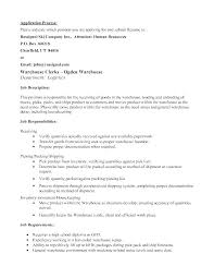 Resume Examples For Warehouse Jobs – Thaihearttalk Resume Ideas