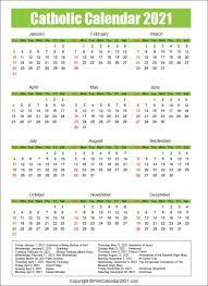 The roman calendar for a.d. Liturgical Roman Catholic Calendar 2021