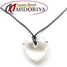 swarovski swarovski heart necklace crystal leather cord pendant 098356