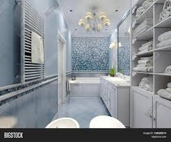 spacious all white bathroom. Spacious Blue Bathroom Classic Style. Bath Toilet Bidet White Furniture Great Luxurious Chandelier Ceiling All