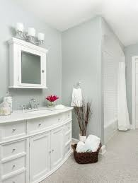 light grey wall paint color with elegant large vanity for best small bathrooms with nice white doors