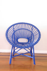 made to order upcycled vintage cane saucer chair neon blue 151 00 via