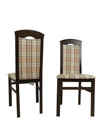 2x Esszimmerstühle Massivholz Nußbaum Beige Braun Polster Stuhlset 2er Set