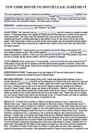 Lease Agreement In Pdf Best Free New York MonthtoMonth Lease Agreement PDF Word Doc