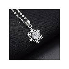 fashion women diamond snowflake pendant necklace chain necklace jewelry silver