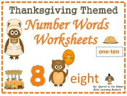 Thanksgiving Themed Number Words Worksheets 1 10