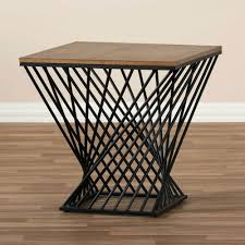 wire side table twist black wood 3 white frame