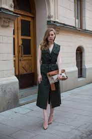 sleeveless trench coat trench dress army green dress pumps belted dress
