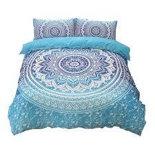 bohemian bedding sets mandala printing blue black white boho single double queen king size duvet cover