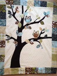 Colorful border, white center with tree and colorful leaves. Owl ... & Colorful border, white center with tree and colorful leaves. Owl Baby Quilt Adamdwight.com