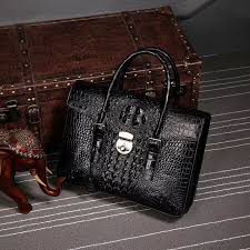 crocodile leather flapover briefcase messenger bag with lock black display