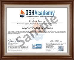 Making Certificates Online Free Ergonomics Oshacademy Free Online Training