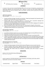 Resume Cv Sample For Marketing Officer Jobsdb Hong Kong
