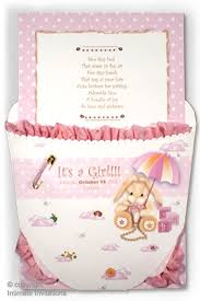Diaper Invitations Baby Shower Invitations Ruffled Baby Diaper Pink With Carousel