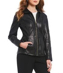 preston york women genuine leather stand collar scuba jacket black stand collar 05518294 lkfmfgn