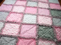 Modern Rag Quilts Baby Rag Quilts Pink Grey Baby Quilt Rag Quilt ... & Modern Rag Quilts Baby Rag Quilts Pink Grey Baby Quilt Rag Quilt Girls Rag  Quilt Modern Adamdwight.com
