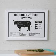 Cow Butcher Chart Butchers Beef Meat Cuts Kitchen Infographic Print