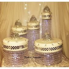 wedding chandelier crystal waterfall rain all the way down set of 5 wedding acrylic cake stands