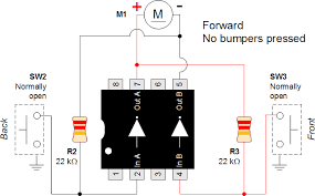 wiring diagram for a back and forth robot robot room 1 forward no bumpers pressed
