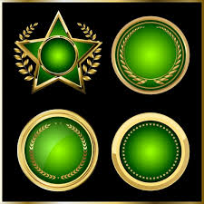 Medal Templates Round Star Icons Shiny Green Design Free