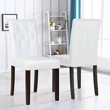 set of 2 white leather dining chairs with tufted backrest kitchen dining room