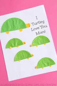 Turtle Themed Mothers Day Card Coffee Cups And Crayons