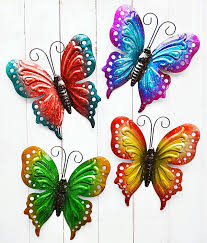 Again, sturdy metal can appear delicate, making a butterfly that can hang from a wall, ceiling or tree for many years. Amazon Com Shabbydecor Metal Butterfly Wall Art Hanging Decor For Patio Garden Backyard Outdoor And Indoor Set Of 4 Home Kitchen