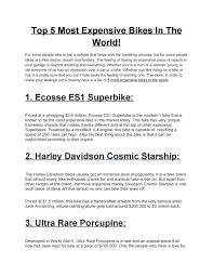The eker design team has in one week produced a life size model of the new ecosse spirit es1 super bike. Top 5 Most Expensive Bikes In The World By Deepika Issuu